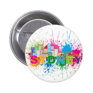 Sydney Skyline Abstract Color Illustration Pinback Button