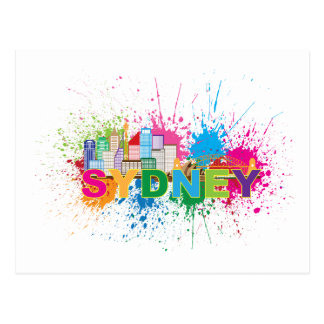 Sydney Skyline Abstract Color Illustration Postcard