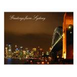 sydney skyline at night postcard