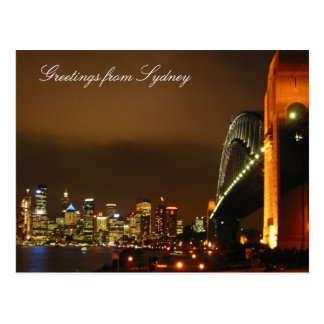 sydney skyline at night postcard