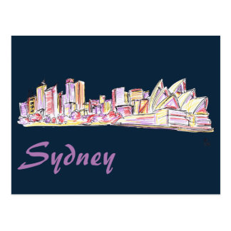 Sydney Skyline Drawing Postcard