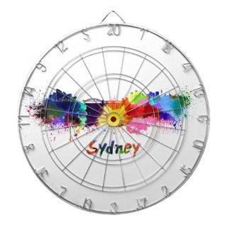 Sydney skyline in watercolor tablero de dardos