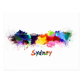 Sydney skyline in watercolor postcard