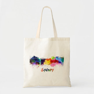 Sydney skyline in watercolor tote bag