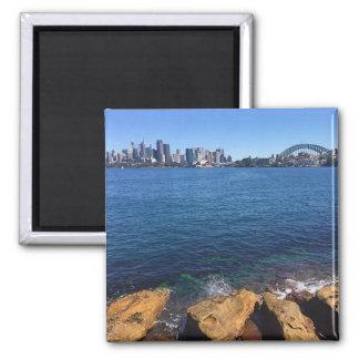 sydney skyline rocks 2 inch square magnet