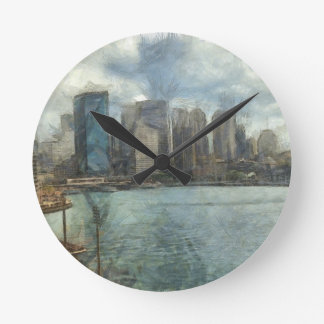 Sydney skyline round clock
