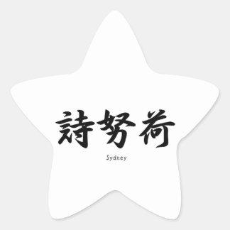 Sydney tradujo a símbolos japoneses del kanji calcomania cuadrada personalizada