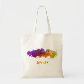 Sydney v2 skyline in watercolor tote bag