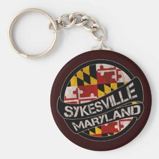 Sykesville Maryland flag grunge keychain