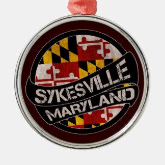 Sykesville Maryland flag grunge round ornament