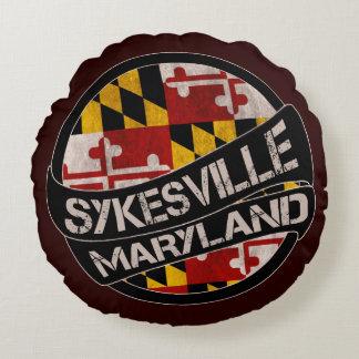 Sykesville Maryland flag grunge round pillow