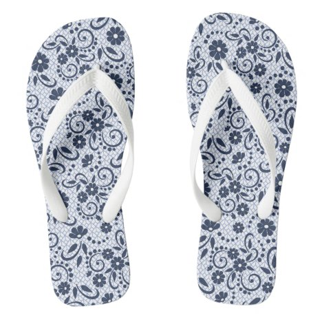 Sylish fun floral navy and white flip flops