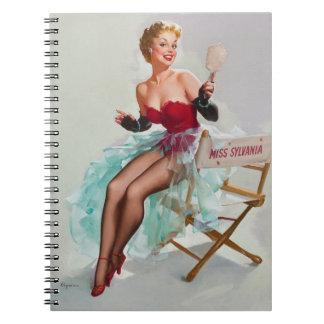 Sylvania calendar blonde pinup girl notebook