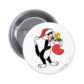 Sylvester Cat with stocking Button