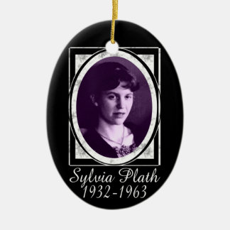 Sylvia Plath Double-Sided Oval Ceramic Christmas Ornament