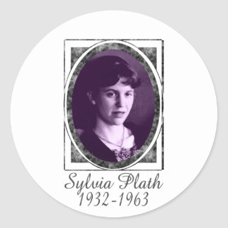 Sylvia Plath Pegatina Redonda