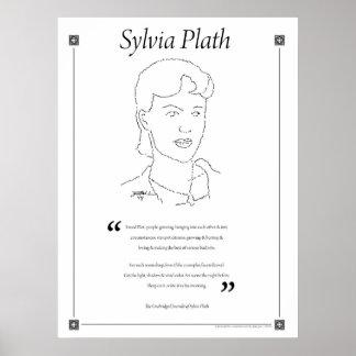 Sylvia Plath que escribe el poster de la cita