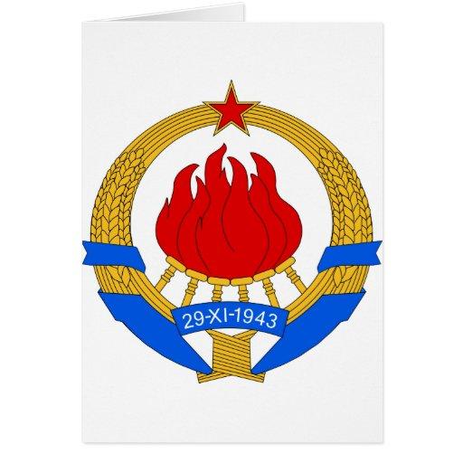 Symbnol oficial de la heráldica de Yugoslavia del  Tarjeton