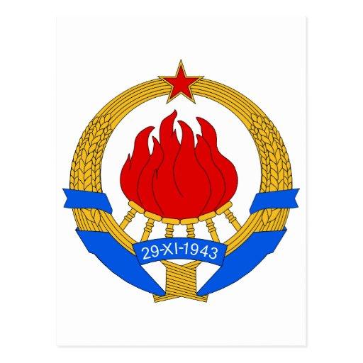 Symbnol oficial de la heráldica de Yugoslavia del  Tarjetas Postales
