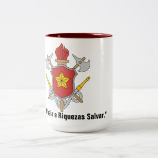 Symbol and motto Firemen Two-Tone Coffee Mug