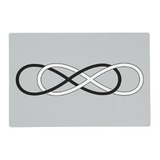 Symbol double Infinity - Black & White + backgr. Laminated Placemat