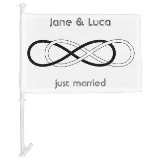 Symbol double Infinity - Black & White + backgr. Car Flag