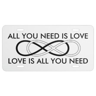 Symbol double Infinity - Black & White License Plate