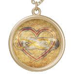 Symbol double Infinity Heart BiColor Round Pendant Necklace