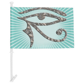 Symbol Moon Eye Of Horus silver + your background Car Flag