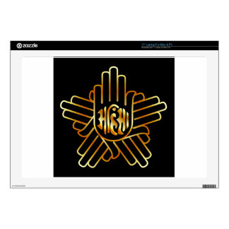 Symbol of Jainism in gold Decals For Laptops