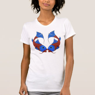 Symbol of Love Koi Carp Fishes with Heart Figure T-Shirt