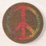 Symbol of Peace with Rainbow Colors Polka Dots Coaster