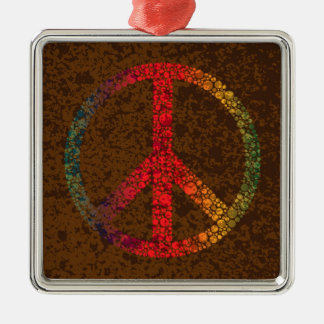 Symbol of Peace with Rainbow Colors Polka Dots Metal Ornament