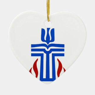 Symbol of Presbyterian religion Double-Sided Heart Ceramic Christmas Ornament