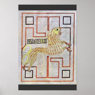 Symbol Of St. Mark (Lion) By Meister Des Evangelia Poster