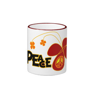 Symbol Peace Of Sign Butterfly Coffee Mugs