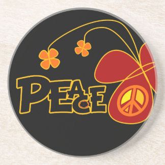 Symbol Peace Of Sign Butterfly Drink Coasters