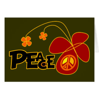 Symbol Peace Of Sign Butterfly Greeting Card