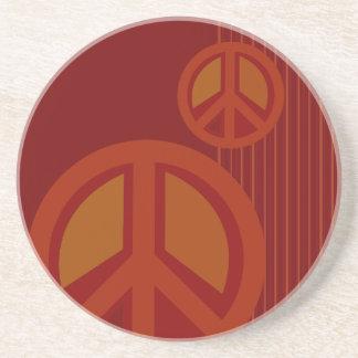 Symbol Peace Red Orange Yellow Beverage Coaster