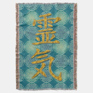 Symbol REIKI gold + flower of life pattern Throw