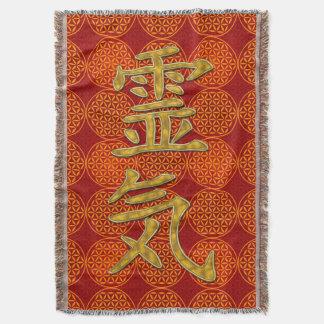 Symbol REIKI gold + flower of life pattern Throw Blanket