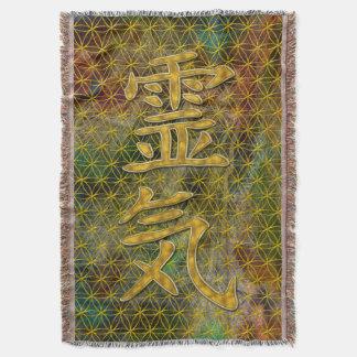 Symbol REIKI gold + your background Throw Blanket