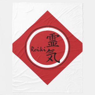 Symbol / Sign REIKI red black + your background Fleece Blanket