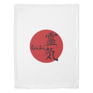 Symbol / Sign REIKI red + your backgr. & ideas Duvet Cover