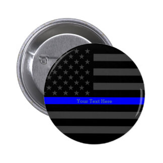 Symbol Thin Blue Line Personalized Black US Flag Pinback Button