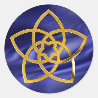 Symbol Venus Flower / GOLD   blue waves Round Stickers