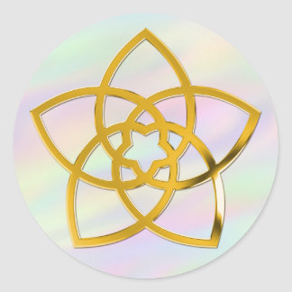 Symbol Venus Flower / GOLD   coloured light Round Stickers
