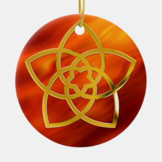 Symbol Venus Flower / GOLD | fire red Christmas Tree Ornament