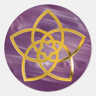 Symbol Venus Flower / GOLD   violet waves Round Stickers