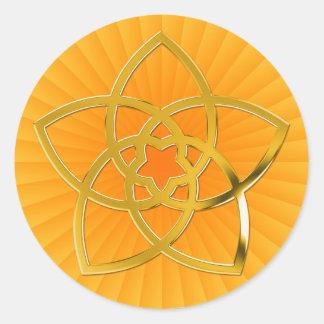 Symbol Venus Flower / GOLD   yellow shine Round Sticker